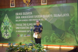 The Dean of FCS, Prof. Dr. Agus Suman S.E., DEA. Opening the Sabda Budaya Award and Cultural Oration 2020